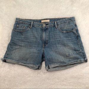 Levi's distressed cuff jean shorts size 12